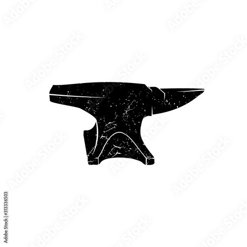 Blacksmith iron anvil retro hipster logo Canvas Print