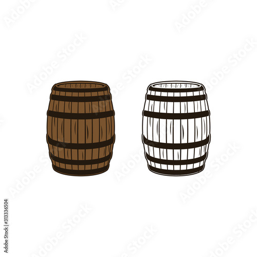 Tableau sur Toile Wood barrel, bourbon, whiskey retro vintage