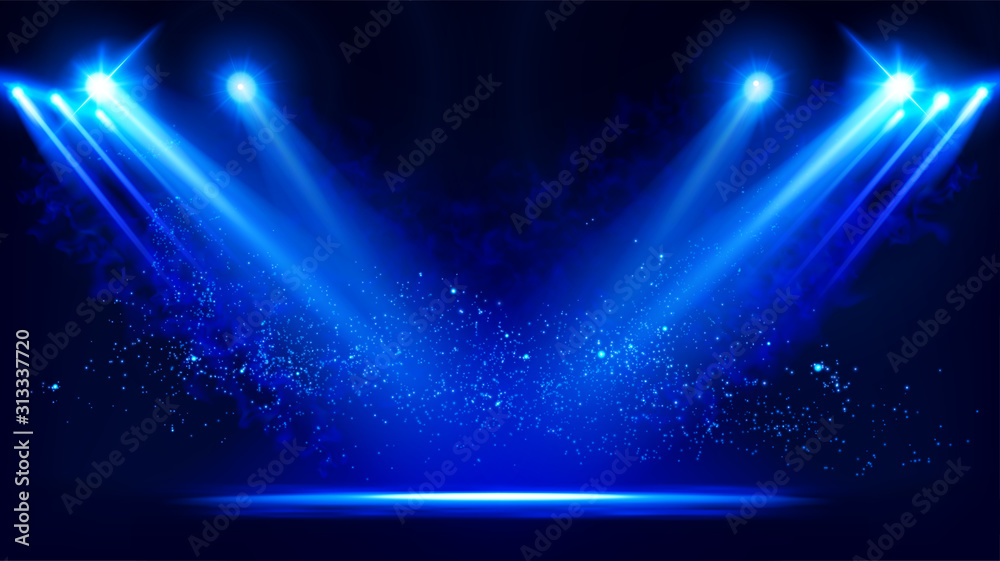 Fototapeta Illuminated stage with scenic lights and smoke. Blue vector spotlight with smoke volume light effect on black background. Stadium cloudiness projector. Mist show room. Vector. EPS 10