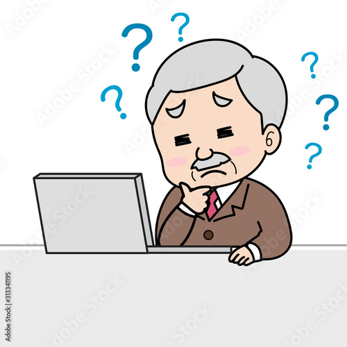 パソコンを使ってわからなくて悩む年配男性