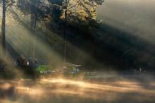 Morning Light At Pang Ung Lake, Pang Ung Travel Destination At Mae Hong Son Province.