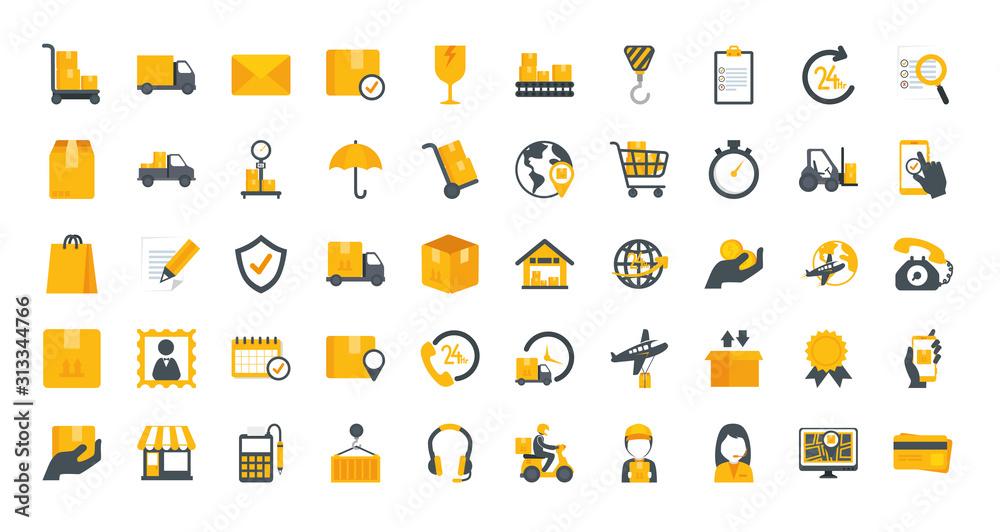 Fototapeta bundle of delivery service icons vector illustration design