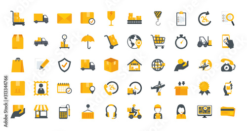 Canvas Print bundle of delivery service icons vector illustration design