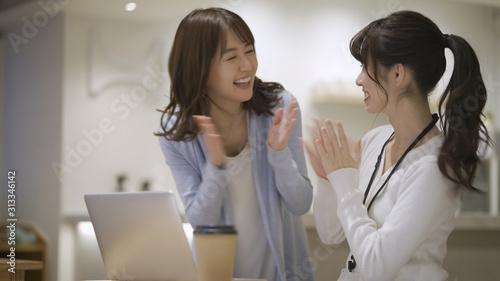 ノートパソコンで仕事をしている二人の女性 Canvas Print