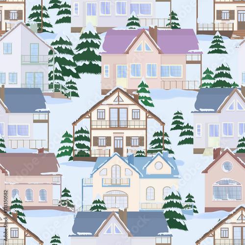 wektorowy-bezszwowy-wzor-podmiejscy-rodzinni-domy-i-jedlinowi-drzewa