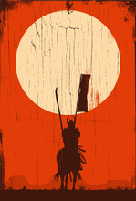 Silhouette Of Samurai Riding H...