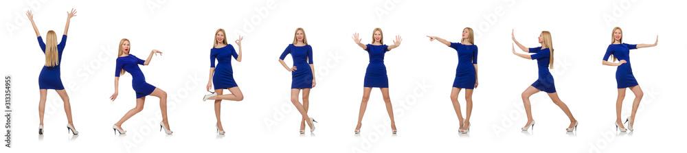 Fototapeta Beautiful lady in dark blue dress isolated on white