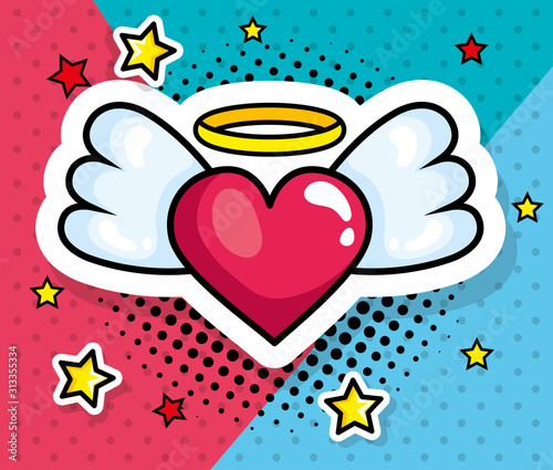 heart with wings pop art style icon vector illustration design