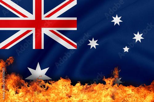 Obraz Burning Australia Flag For Australia Fire Concept - fototapety do salonu