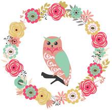 Vector Floral Frame With An Owl