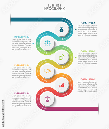 Obraz Business data visualization. timeline infographic icons designed for abstract background template milestone element modern diagram process technology digital marketing data presentation chart Vector - fototapety do salonu