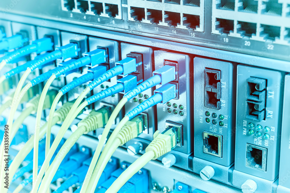 Fototapeta Fiber Optic cables connected to an optic ports and Network cables connected to ethernet ports