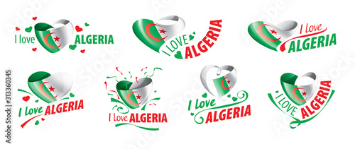 Photo The national flag of the Algeria and the inscription I love Algeria