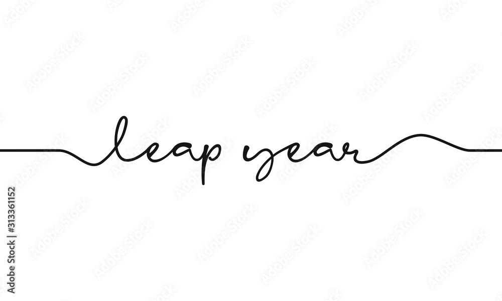 Fototapeta leap year script text on white background