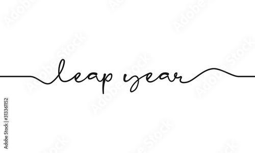 Fotografía  leap year script text on white background
