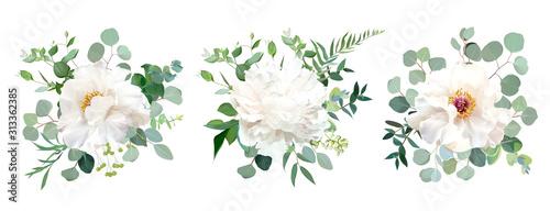Bukiety ślubne biały kwiat projekt wektor