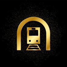 Train, Tunnel Gold, Icon. Vector Illustration Of Golden Particle