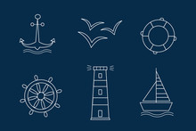 Set Of Sea Icons Vectors The Contours Of The White Outline On Dark Blue Background. Anchor Ship Wheel Seagull Lighthouse And A Lifeline.