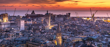 Genoa, Genova, Italy: Amazing Sunset Panoramic Aerial View Of Genoa Old Town Historic Centre (San Lorenzo Cathedral, Duomo, Palazzo Ducale, Torre Grimaldina), Sea And Port At Dusk, By Night. Panorama