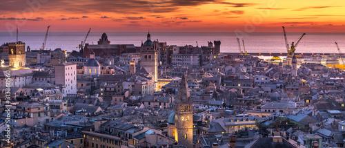 Genoa, Genova, Italy: Amazing sunset panoramic aerial view of Genoa old town ...