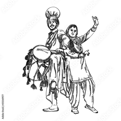 Fototapeta Punjabi couple dancing on bhangra on the occasion of punjabi festival Happy Lohri