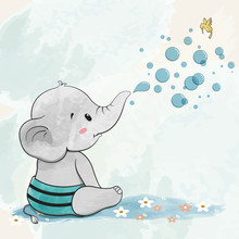 Cute Baby Elephant With Air Bubbles Water Color Cartoon Hand Drawn Vecter Illustration. Use For Happy Birthday Invitation Card, T-shirt Print, Baby Shower.