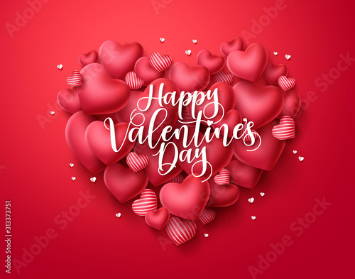 Obraz Valentines day hearts vector greeting card. Happy valentines day text with heart shape elements in red background. Vector illustration. - fototapety do salonu