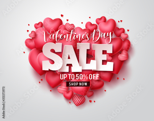 Valentines day sale vector hearts. Valentines day sale text with heart shape elements in red background. Vector illustration.