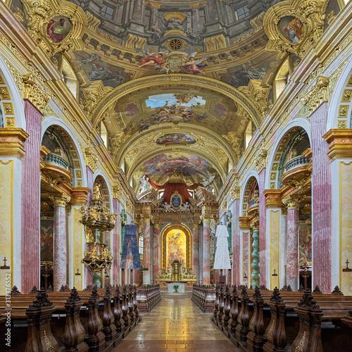 Fototapeta Interior of Jesuit Church in Vienna, Austria