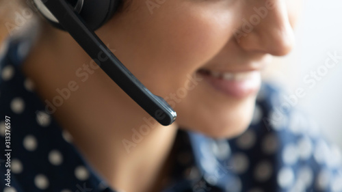 Carta da parati Telesales call center agent wear headset consult customer, closeup view