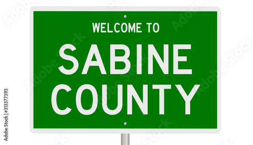 Rendering of a green 3d highway sign for Sabine County Canvas Print