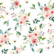 Seamless background, pattern, vintage floral texture with bouquets watercolor pink flowers roses. Repeat fabric wallpaper. Perfectly for wrapped paper, backdrop.