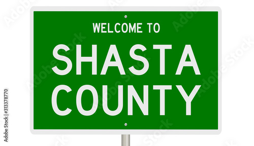 Rendering of a green 3d highway sign for Shasta County Wallpaper Mural