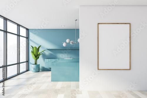 Fototapeta Poster in white and blue kitchen obraz