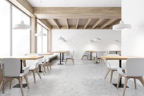 Obraz White loft cafe interior with square tables - fototapety do salonu