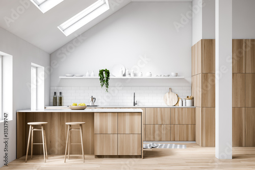 Photographie Attic white kitchen interior with bar