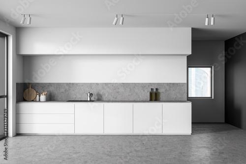 Obraz White and gray kitchen interior with countertops - fototapety do salonu
