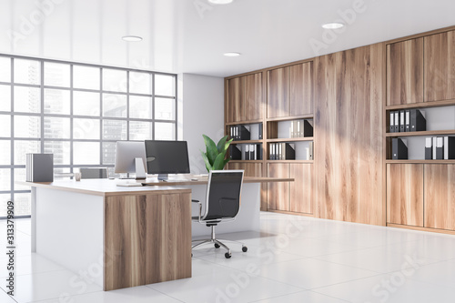 Obraz White CEO office corner with wooden table - fototapety do salonu
