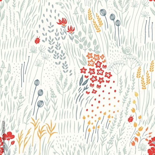 Fototapeta Wildflowers, grass and insects scattered on light background, seamless floral abstract pattern with flowers. Vector meadow hand drawn illustration in vintage style. obraz