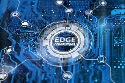 Fototapeta Edge computing technology concept. Blue integrated circuit with icons. Futuristic tech of data processing. obraz na płótnie