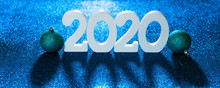 Volume Letters 2020 New Year Numbers Standing Blue