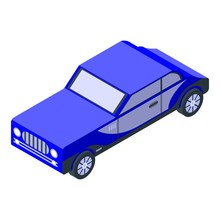 Blue Old Car Icon. Isometric O...