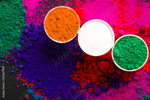 Concept for Indian Independence day and republic day, Three color in cup on whit Canvas Print