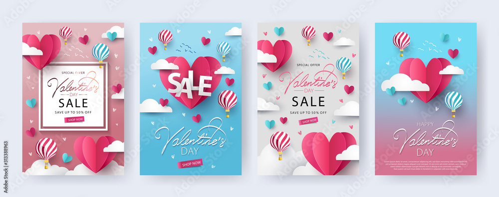 Fototapeta Happy Valentine's Day banners, posters, cards or flyers Set with flying Origami Hearts over clouds with air balloons in the sky. Design template for advertising, web, social media. Paper cut style