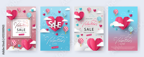 Happy Valentine's Day banners, posters, cards or flyers Set with flying Origami Hearts over clouds with air balloons in the sky Wallpaper Mural
