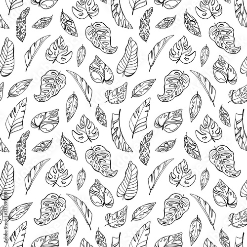 Digital illustration pattern creative cute outline black line tropical textural leaves. Print in a children's style for fabrics, paper, invitations, cards, scrapbooking, coloring.