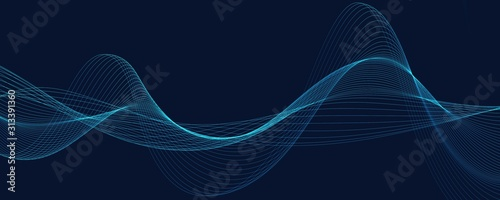 Obraz Abstract background with wave of flowing particles over dark, smooth curve shape lines - fototapety do salonu