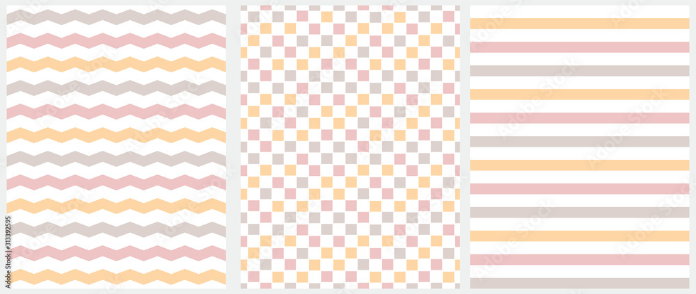 Fototapeta Pastel Color Seamless Geometric Vector Patterns. Pink, Beige and Yellow Grid, Stripes and Chevron Isolated on a White Background. Simple Abstract Vector Print for Fabric, Textile, Wrapping Paper.