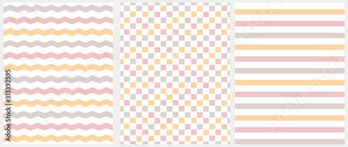 fototapeta na ścianę Pastel Color Seamless Geometric Vector Patterns. Pink, Beige and Yellow Grid, Stripes and Chevron Isolated on a White Background. Simple Abstract Vector Print for Fabric, Textile, Wrapping Paper.
