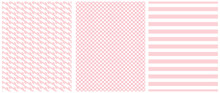 Pastel Color Seamless Geometric Vector Patterns. White Grid And Stripes Isolated On A Light Pink Background. Simple Abstract Monochrome Vector Print For Fabric, Textile, Wrapping Paper.